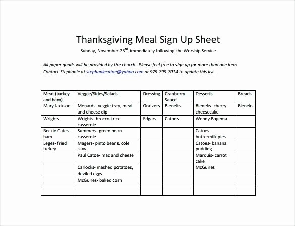 Group Sign In Sheet Template Inspirational 14 Thanksgiving Potluck Signup Sheet