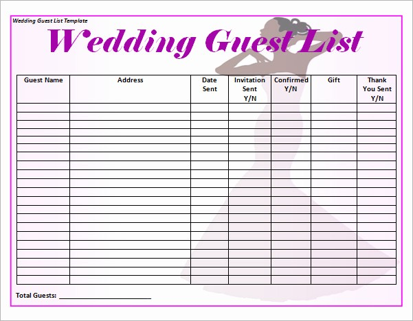 Guest List for Wedding Template Awesome 17 Wedding Guest List Templates – Pdf Word Excel