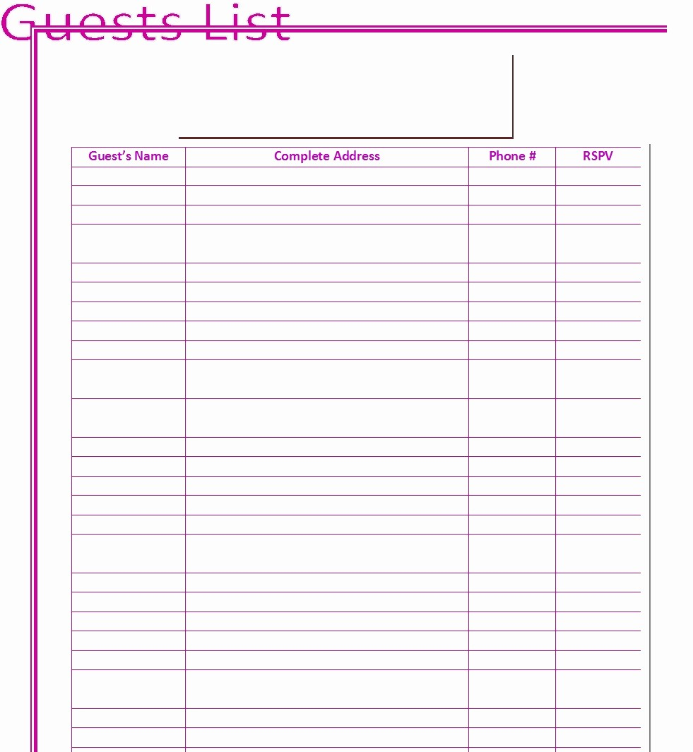 Guest List for Wedding Template Awesome 30 Free Wedding Guest List Templates Templatehub