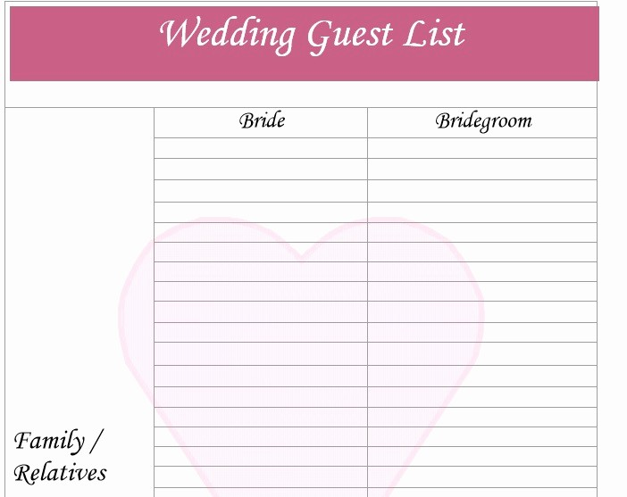 Guest List for Wedding Template Best Of 30 Free Wedding Guest List Templates Templatehub