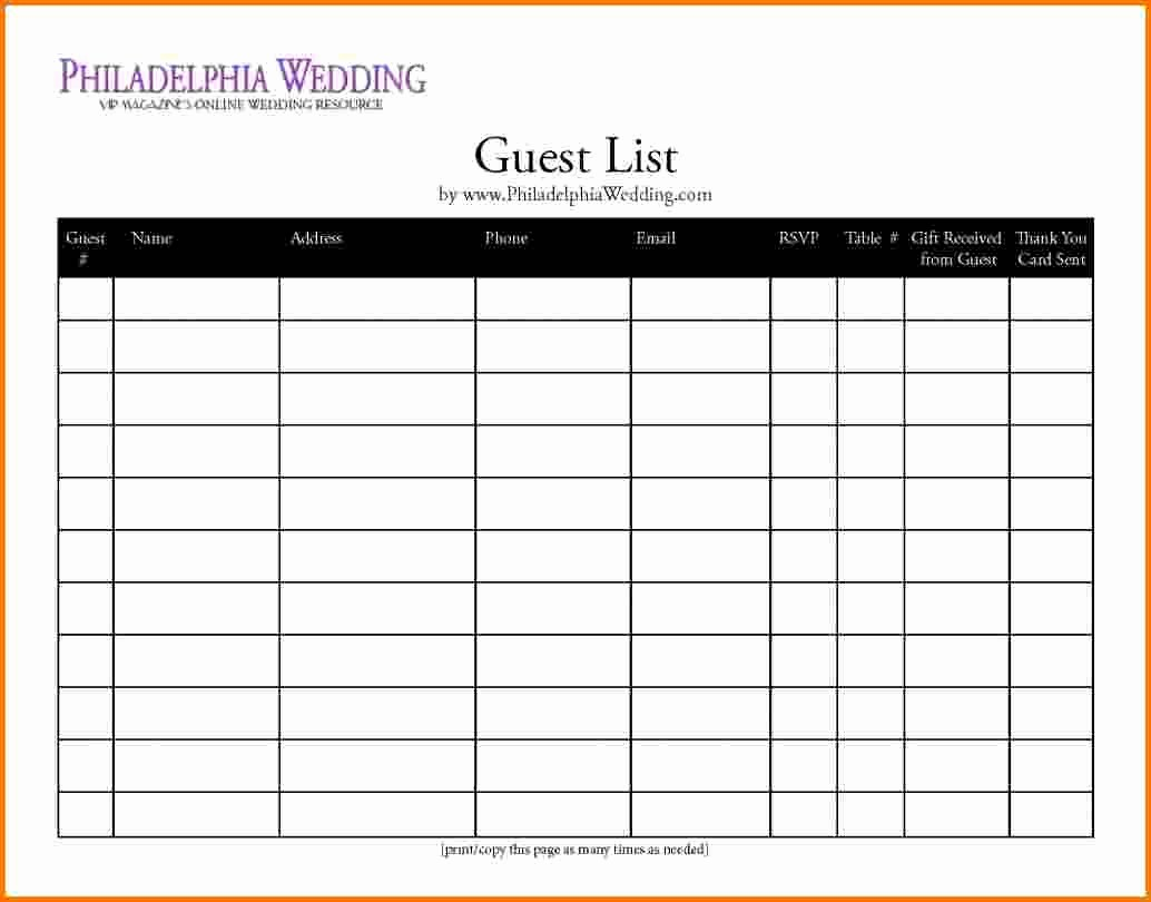 Guest List for Wedding Template Elegant 4 Printable Wedding Guest List Template