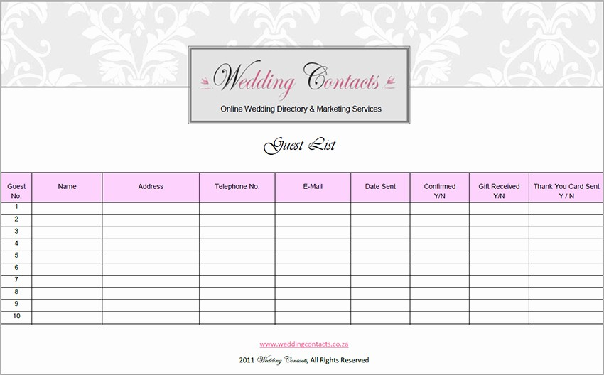 Guest List for Wedding Template Elegant 7 Wedding Guest List Template Free Word Excel Pdf formats