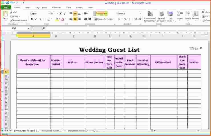 Guest List for Wedding Template Fresh 6 Wedding Guest List Template Excel Bookletemplate