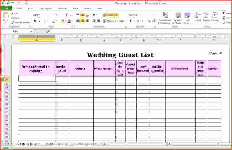 Guest List for Wedding Template Fresh 6 Wedding Guest List Template Excel Bookletemplate