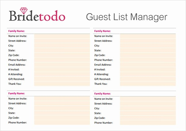Guest List for Wedding Template Inspirational 17 Wedding Guest List Templates – Pdf Word Excel