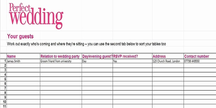 Guest List for Wedding Template Inspirational 35 Beautiful Wedding Guest List & Itinerary Templates