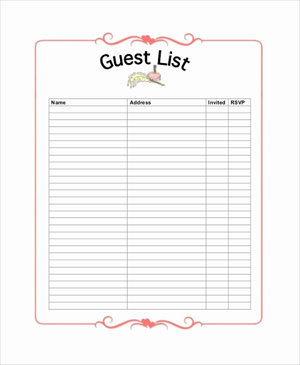 Guest List for Wedding Template Inspirational 8 Sample Wedding Guest Lists