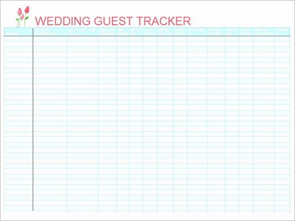 Guest List for Wedding Template Lovely 17 Wedding Guest List Templates – Pdf Word Excel