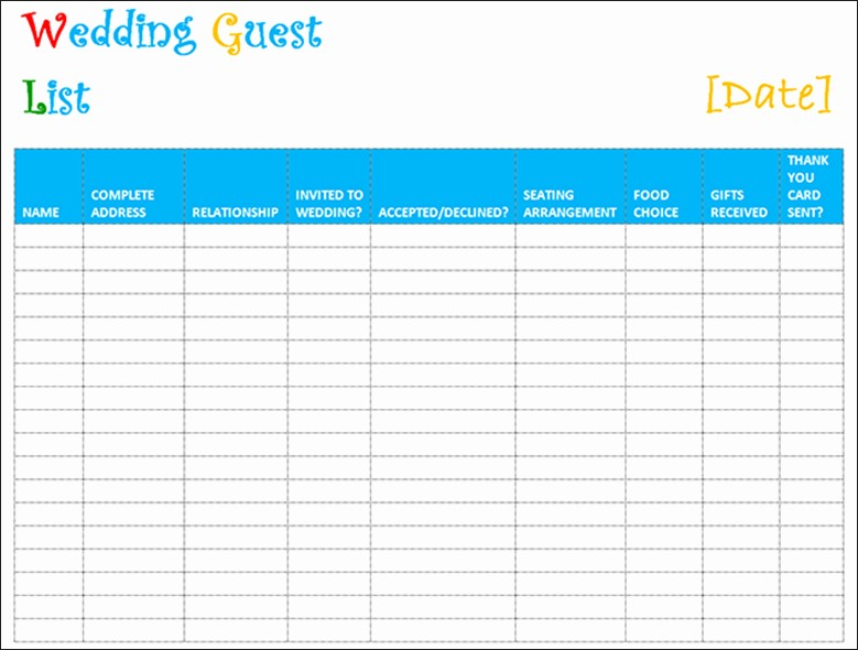 Guest List for Wedding Template Lovely 7 Wedding Guest List Template Free Word Excel Pdf formats