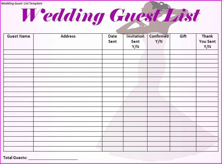 Guest List for Wedding Template Lovely Best 25 Wedding Guest List Ideas On Pinterest