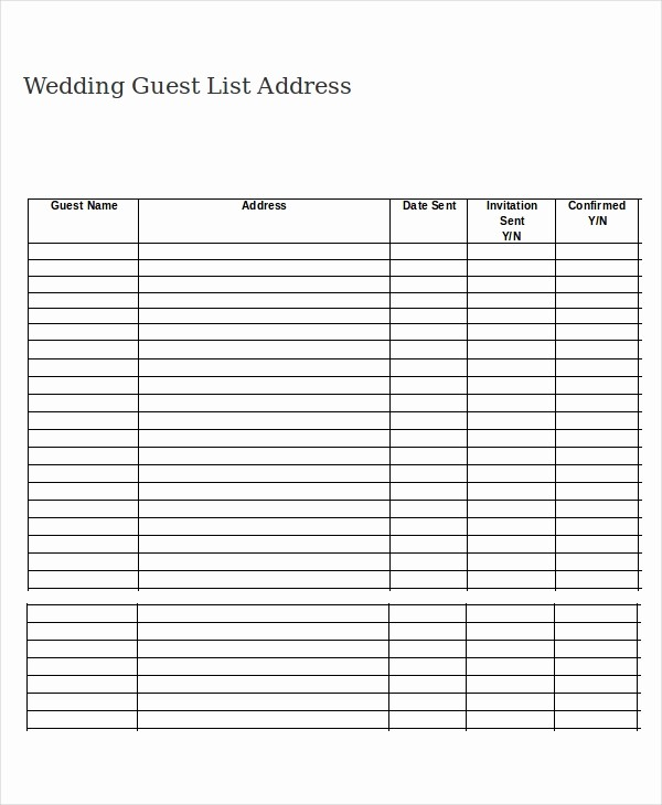 Guest List for Wedding Template Luxury Wedding Guest List Template 9 Free Word Excel Pdf