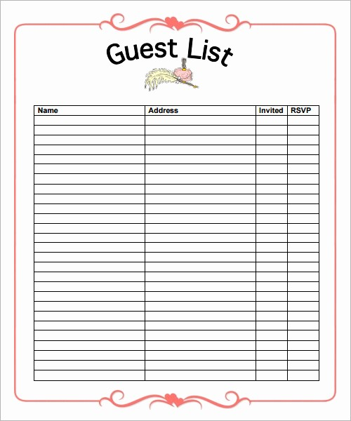 Guest List for Wedding Template New 10 List Templates