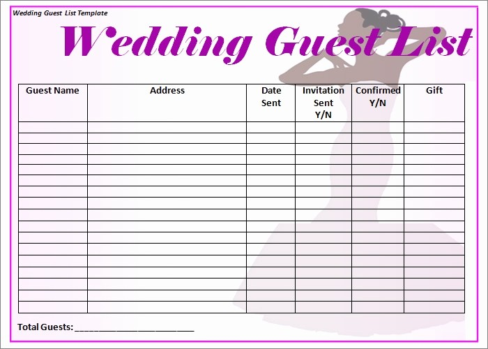 Guest List for Wedding Template Unique Wedding Guest List Template 6 Free Sample Example