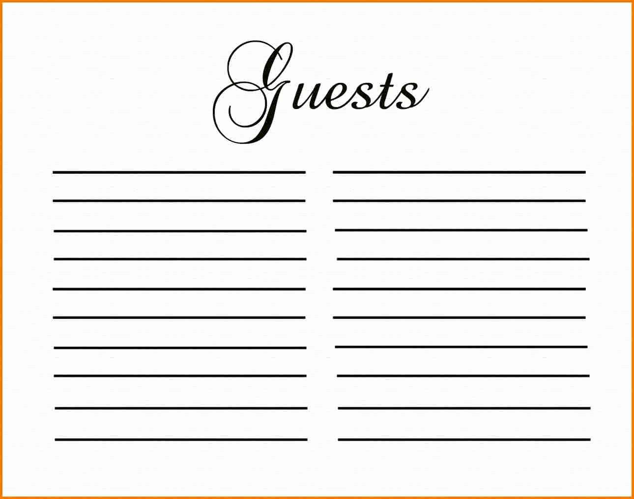 Guest Sign In Sheet Templates Inspirational Guest Book Template