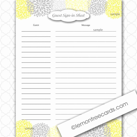 Guest Sign In Sheet Templates Inspirational Yellow and Grey Dahlia Baby or Bridal Shower Guest Sign In
