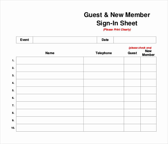 Guest Sign In Sheet Templates Lovely 75 Sign In Sheet Templates Doc Pdf