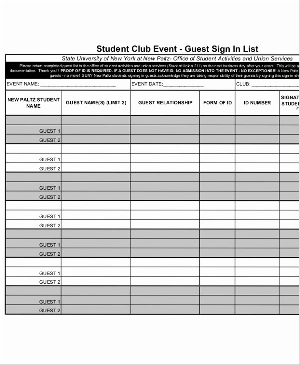 Guest Sign In Sheet Templates New 10 Sample Printable Sign In Sheets