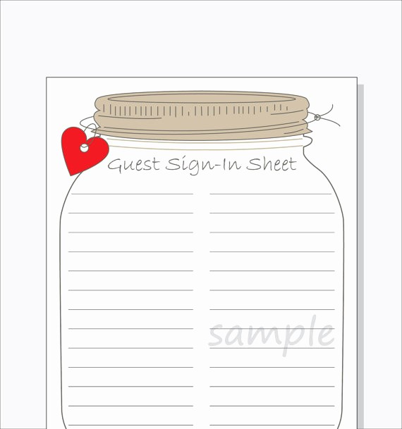 Guest Sign In Sheet Templates New Bridal Shower Guest Sign In Sheet Printable Diy Mason Jar
