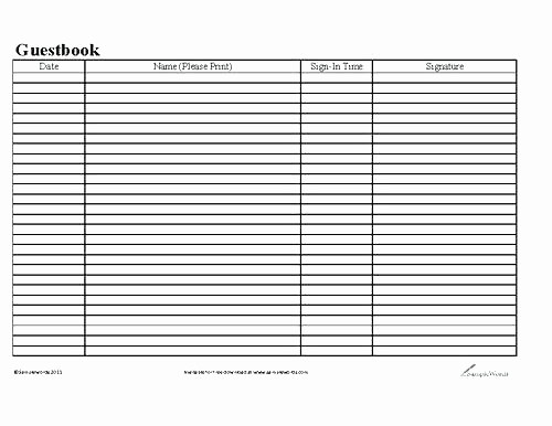 Guest Sign In Sheet Templates New Guest List Sheet Template Visitor and Sub Sign In
