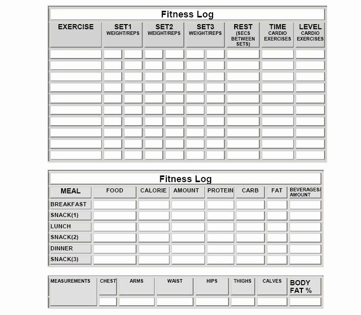 Gym Sign In Sheet Template Awesome Fitness Log Sheets and More Meal Log Sheets Workout