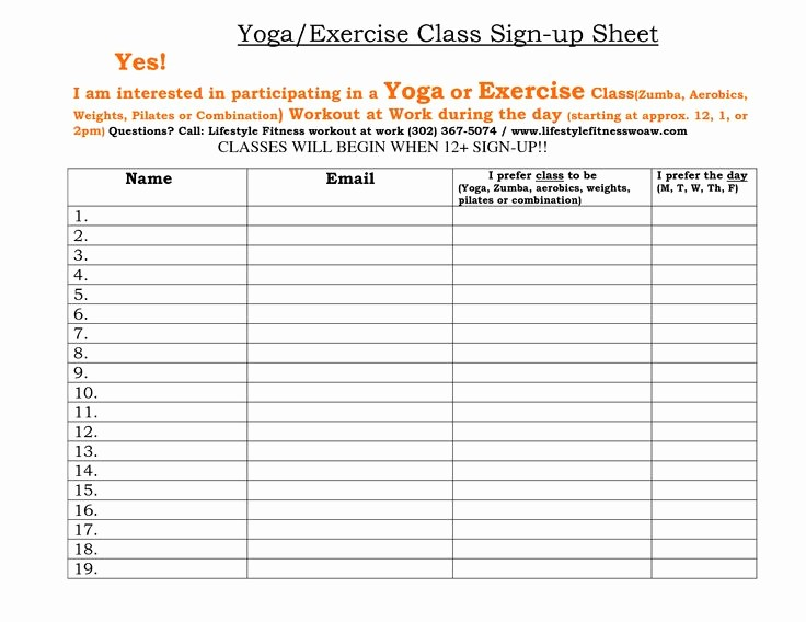 Gym Sign In Sheet Template Inspirational Fitness Sign Up Sheet
