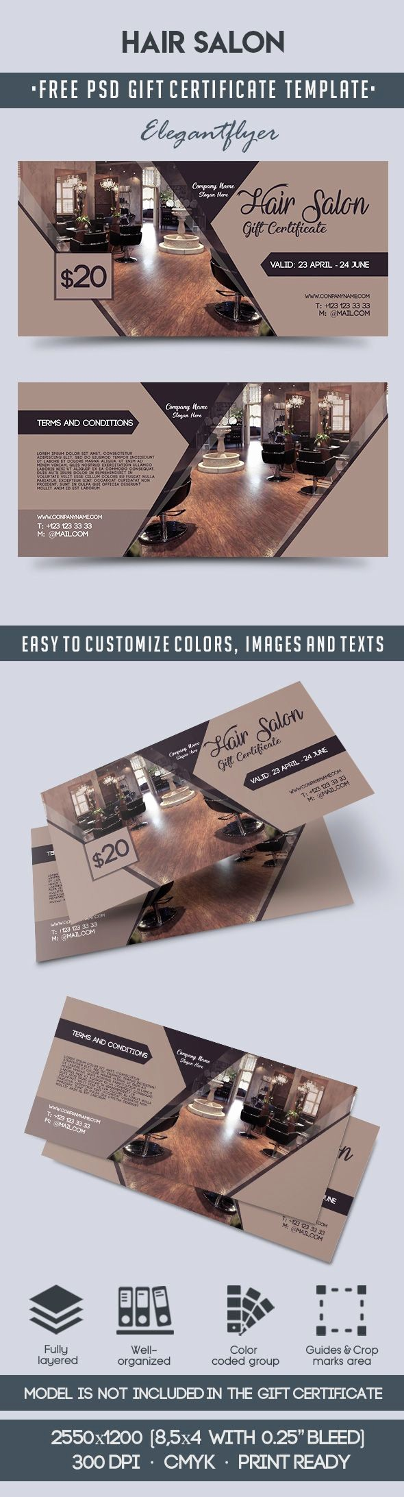 Hair Salon Gift Certificate Templates Awesome Hair Salon – Free Gift Certificate Psd Template – by