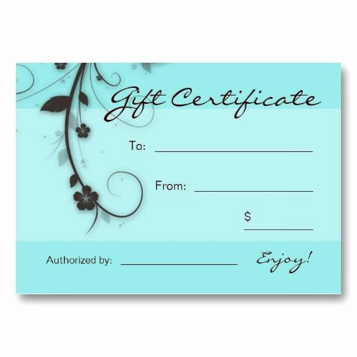 Hair Salon Gift Certificate Templates Awesome Salon Business Card Gift Certificate Turquoise Blue Brown