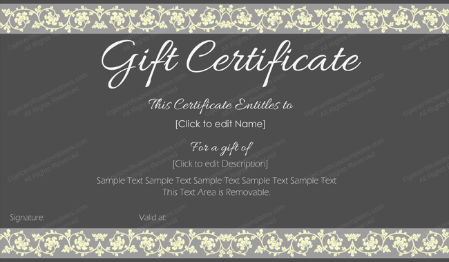 Hair Salon Gift Certificate Templates Beautiful Beauty In Black Gift Certificate Template Printable Gift