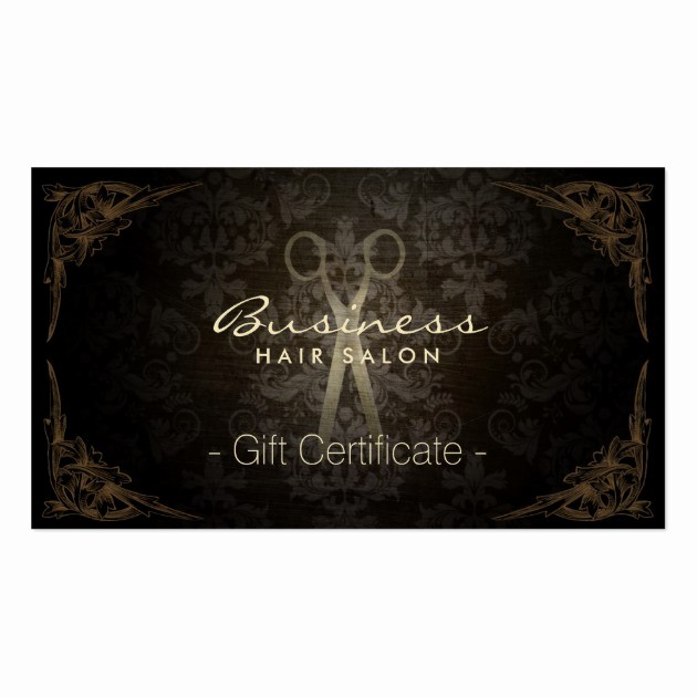 Hair Salon Gift Certificate Templates Beautiful Vintage Framed Damask Hair Salon Gift Certificate Business