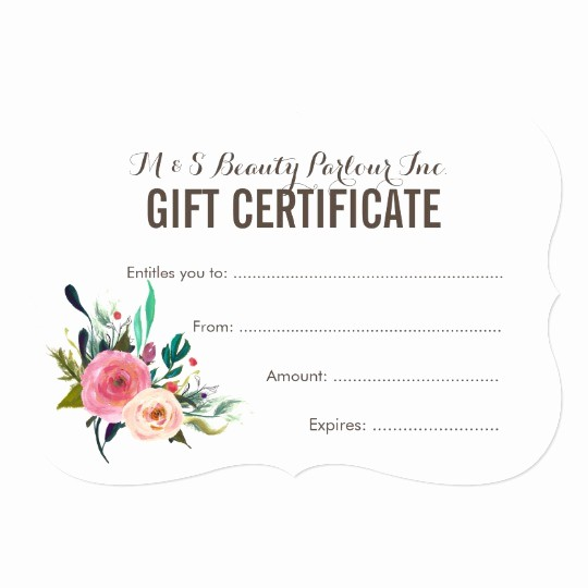 Hair Salon Gift Certificate Templates Best Of Painted Floral Salon Gift Certificate Template