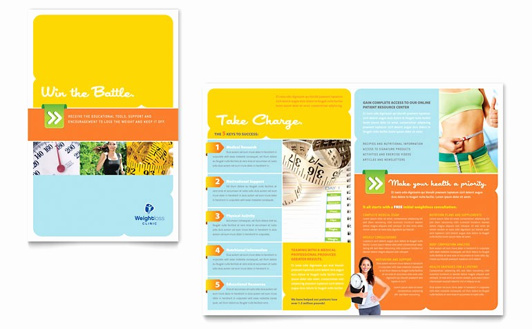 Half-fold Brochure Template Awesome Free Half Fold Brochure Template Weight Loss Clinic