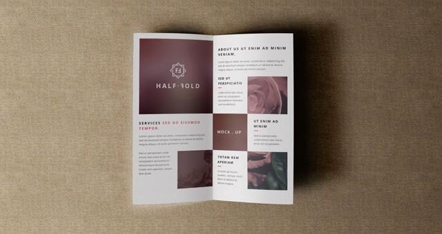 Half-fold Brochure Template Elegant Psd Bi Fold Mockup Template Vol4