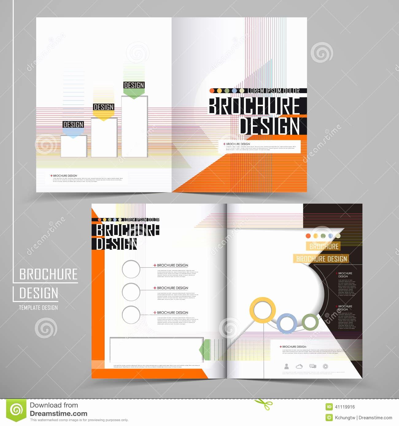 Half-fold Brochure Template Elegant Vector Brochure Layout Design Template Stock Vector