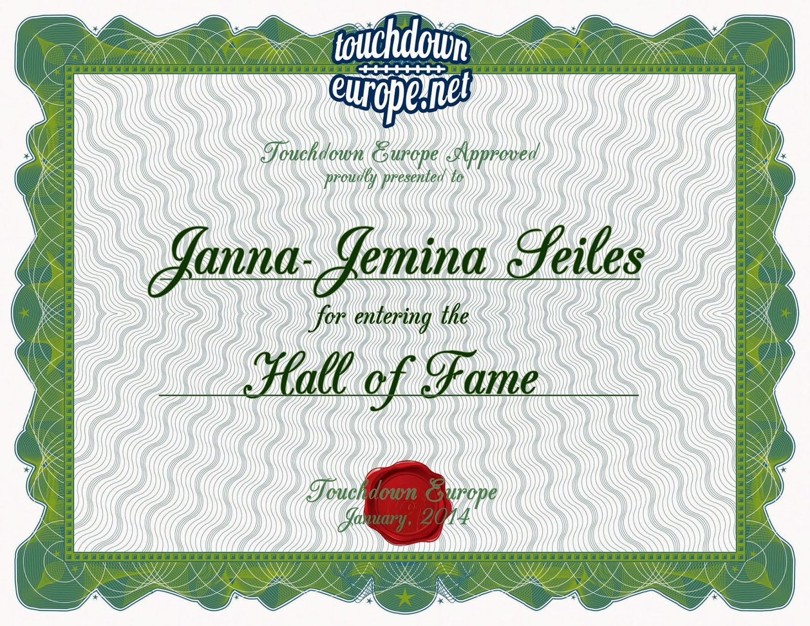 Hall Of Fame Certificate Template Awesome Hall Fame Janna Jemina Seiles Wr touchdown Europe