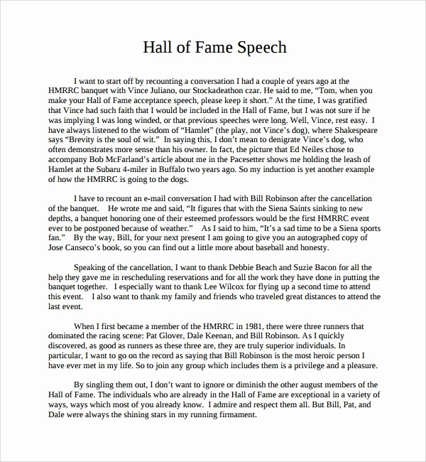 Hall Of Fame Certificate Template Elegant 10 Acceptance Speech Example Templates – Pdf