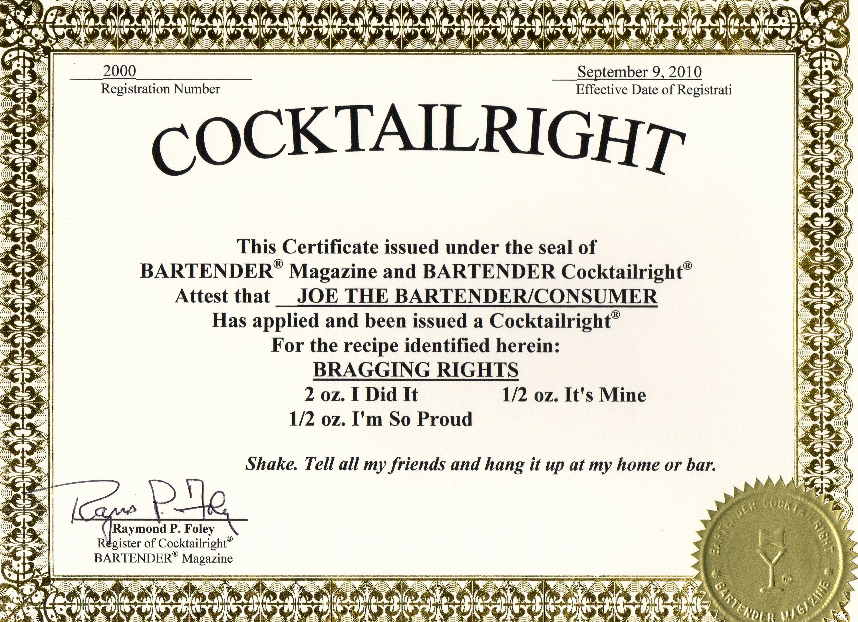Hall Of Fame Certificate Template Unique Cocktailright order form