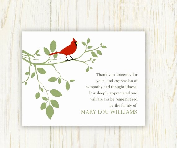 Hallmark Thank You Card Template Best Of Red Bird Funeral Thank You Card Digital Sympathy Card
