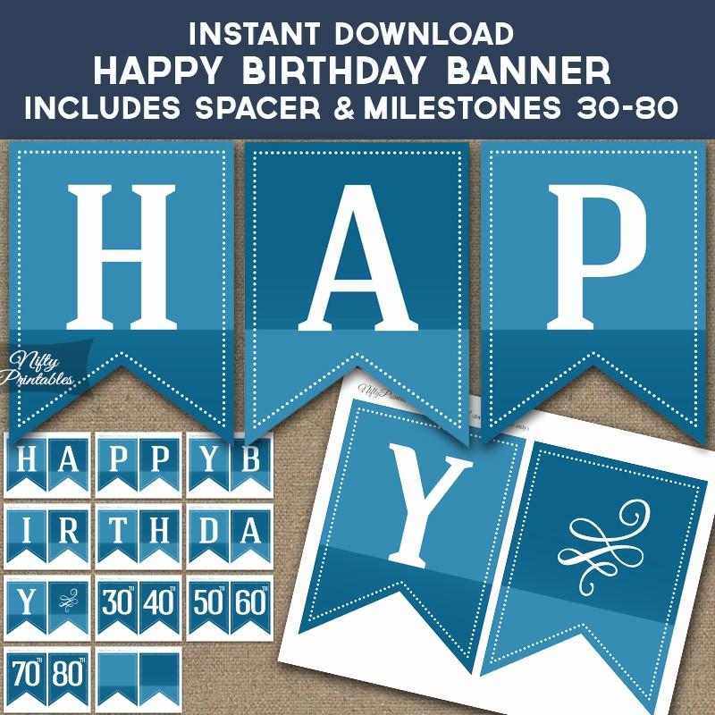 Happy Birthday Banner Print Out Elegant Printable Blue Happy Birthday Banner