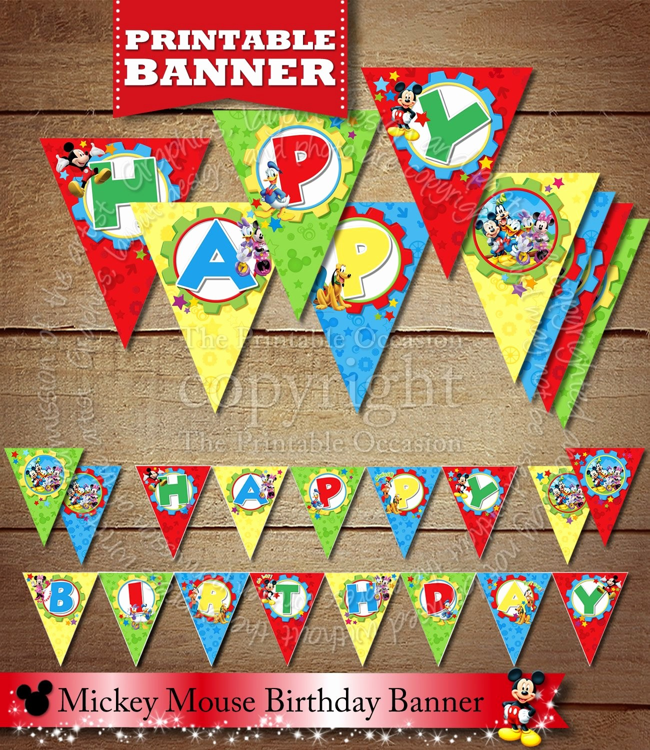 Happy Birthday Banner Print Out Fresh Printable Happy Birthday Pennant Banner Printable Mickey