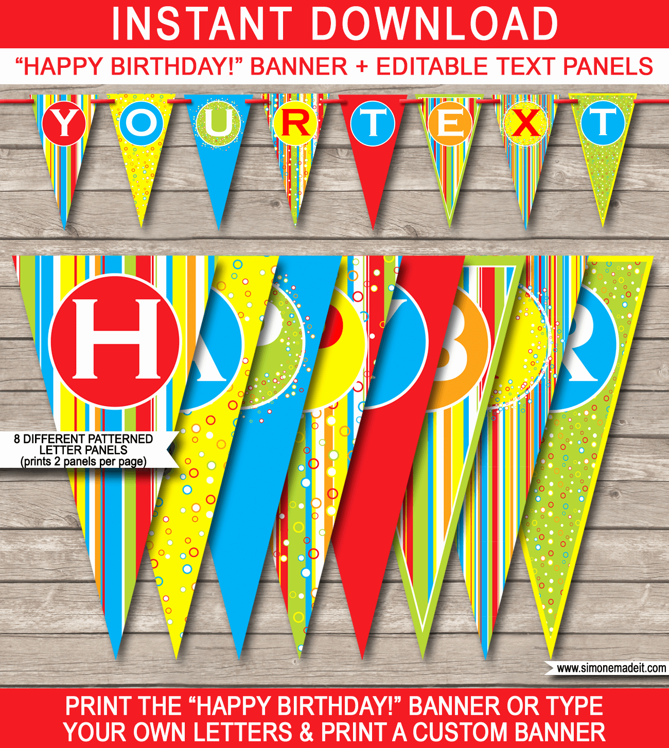 Happy Birthday Banner Print Out Inspirational Colorful Pennant Banner Template
