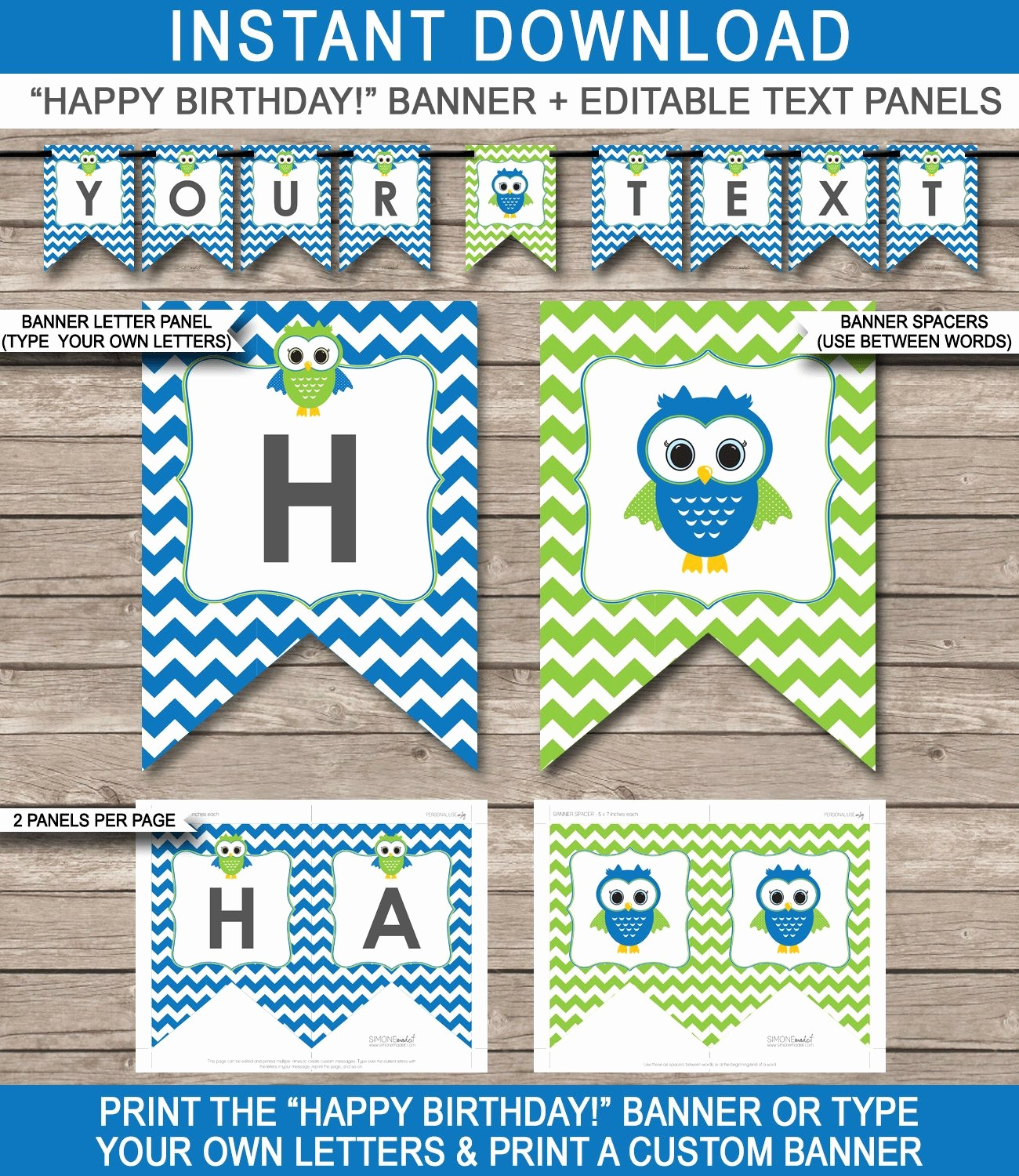 Happy Birthday Banner Print Out Lovely Owl Party Banner Happy Birthday Banner Custom Banner