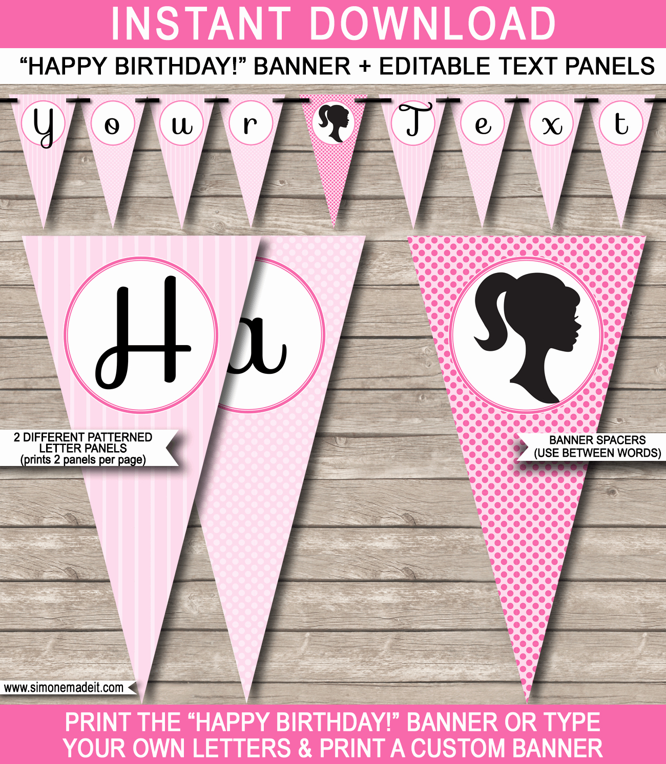 Happy Birthday Banner Print Out Luxury Barbie Party Banner Template Birthday Banner