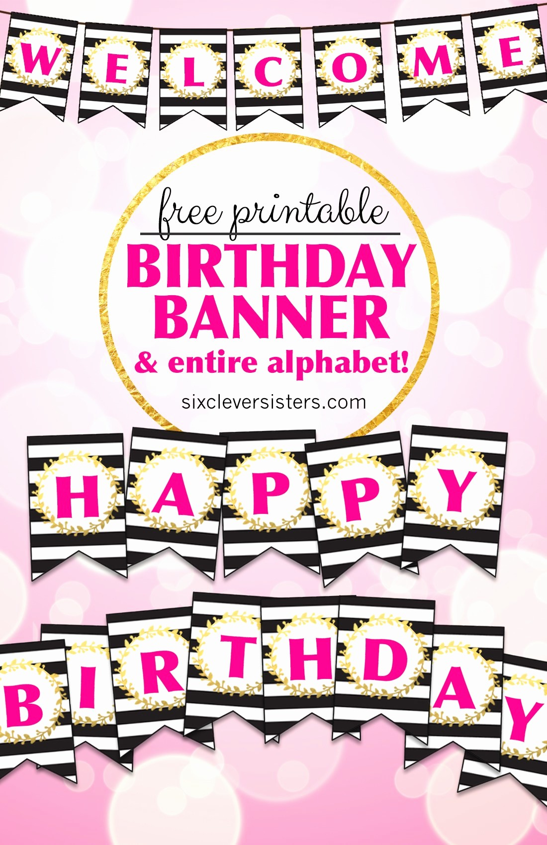 free printable happy birthday banner and alphabet