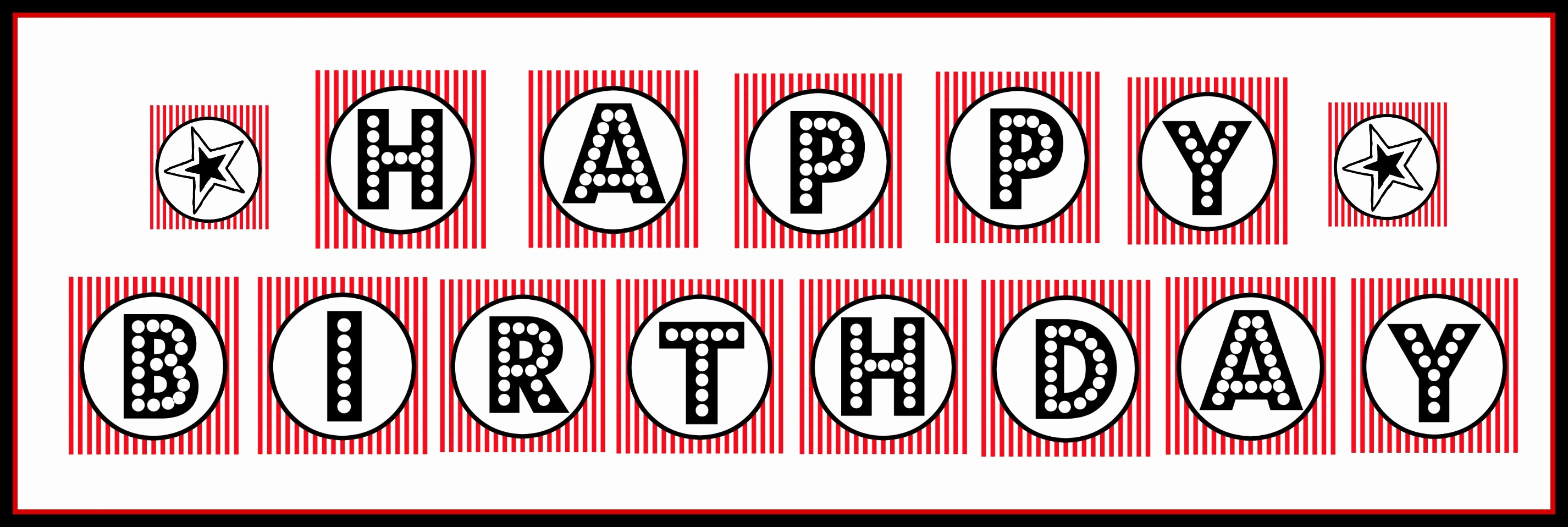 """Happy Birthday Banner Print Out Luxury Free Printable """"happy Birthday"""" Banner Red Black & White"""