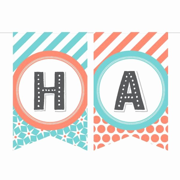 Happy Birthday Banner Print Out Luxury Printable Birthday Banner In Coral & Aqua