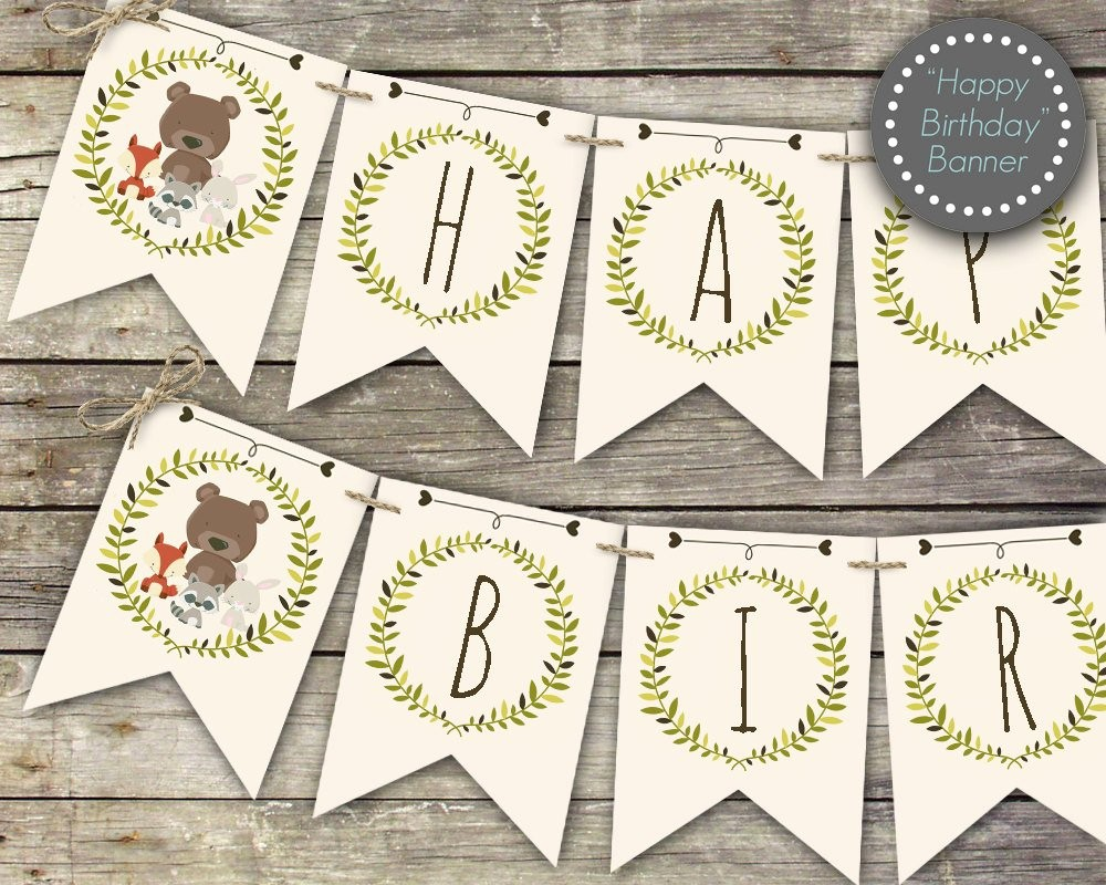 Happy Birthday Banner Print Out New Woodland Birthday Banner Printable Happy Birthday Banner