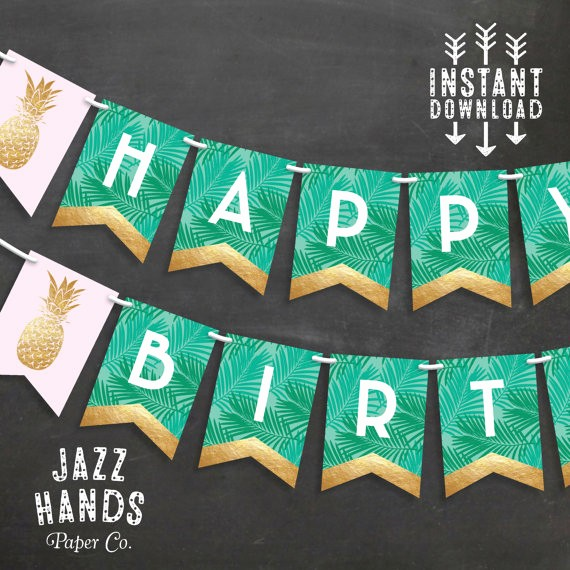 Happy Birthday Banner Print Out Unique Tropical Happy Birthday Banner Diy Printable Pineapple