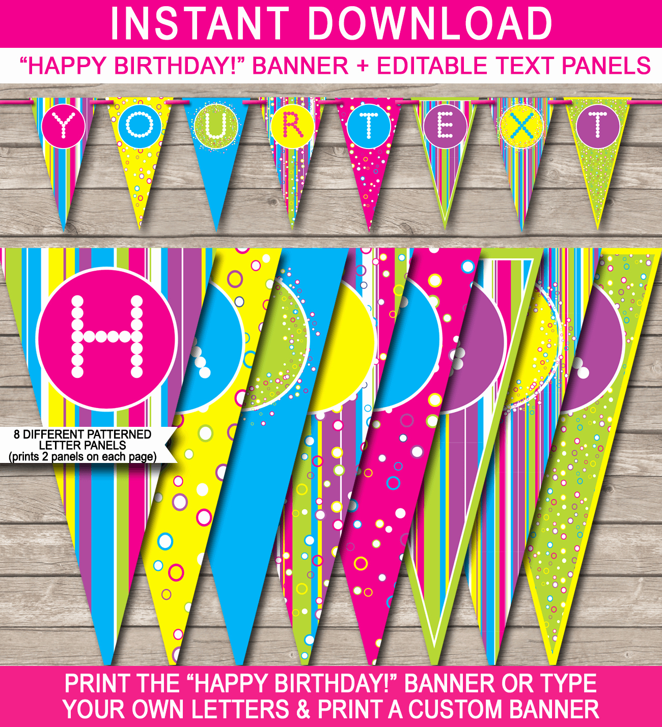 Happy Birthday Banner Template Printable Beautiful Colorful Banner Template
