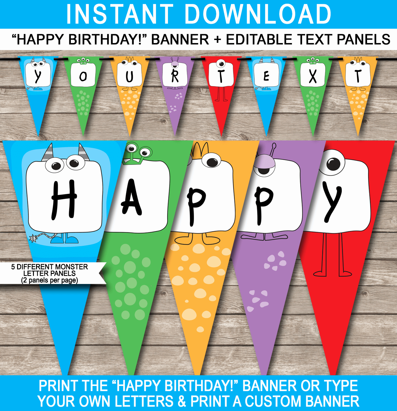 Happy Birthday Banner Template Printable Beautiful Monster Party Banner Template Birthday Banner