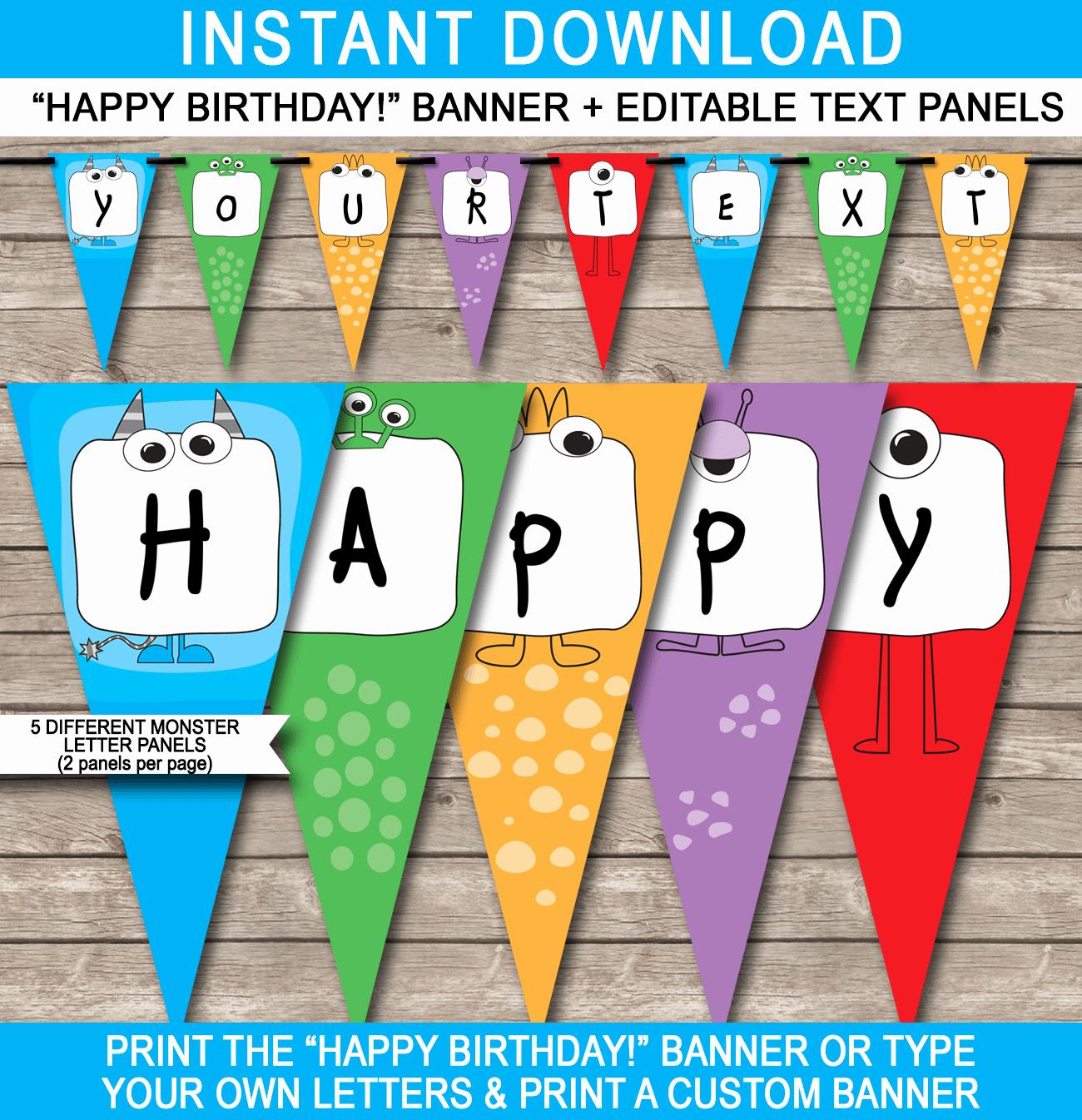 Happy Birthday Banner Template Printable Beautiful Monster Party Banner Template Birthday Banner